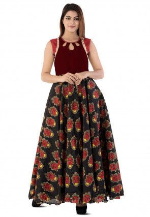 Kalamkari Printed Cotton Silk Circular Gown in Black and Dark Maroon