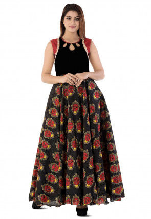 Kalamkari Printed Cotton Silk Circular Gown in Black