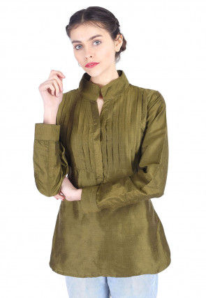 Tucked Art Silk Top in Olive Green