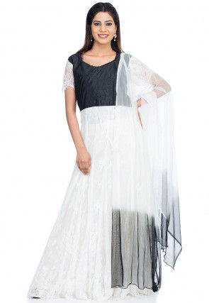Tucked Chantelle Net Abaya Style Suit in White and Black