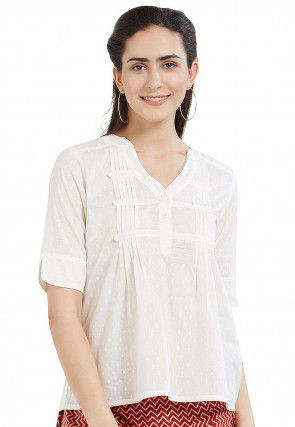 Tucked Cotton Dobby Top in Off White