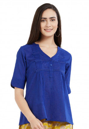 Tucked Cotton Dobby Top in Royal Blue