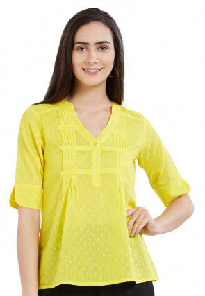 Tucked Cotton Dobby Top in Yellow