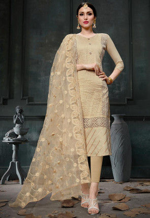 Tucked Cotton Pakistani Suit in Beige