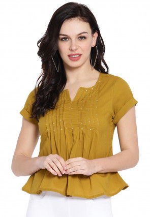 Tucked Cotton Top in Mustard