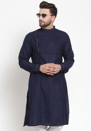 Tucked CottonKurta in Navy Blue