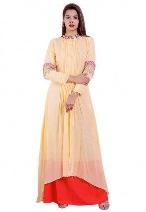 Tucked Georgette Asymmetric Dress in Pastel Orange