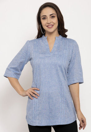 Tucked Pure Cotton Top in Blue