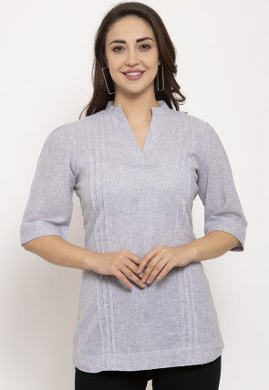 Tucked Pure Cotton Top in Grey