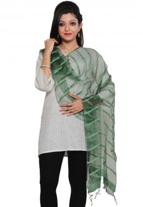 Woven Tissue Stole in Green
