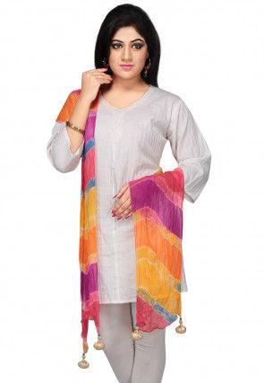 Lehariya Printed Chiffon Dupatta In Multicolor
