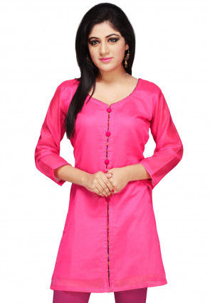 Plain Chanderi Kurti in Fuchsia