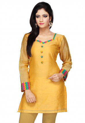 Plain Chanderi Kurti in Yellow