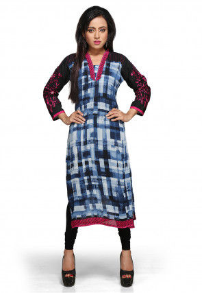 Printed Readymade Long Kurta in Blue and White