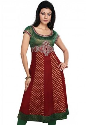 Embroidered Georgette And Viscose Tunic In Maroon