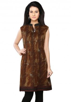 Printed Georgette Tunic In Brown