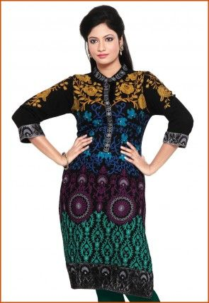 Embroidered Woolen Kurti in Black