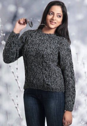 Woolen Knitted Cardigan in Charcoal