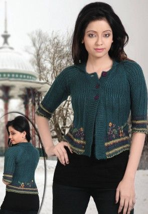 Hand Embroidered Woolen Cardigan in Teal Blue