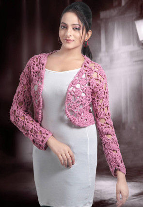 Handmade Crochet Cotton Cardigan in Pink