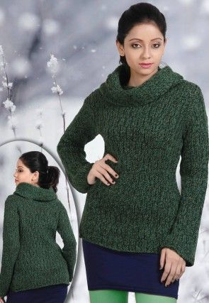 Acro Woolen Cardigan in Dark Green