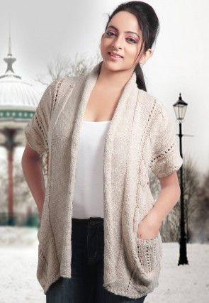 Front Open Cotton Woolen Cardigan in Cream
