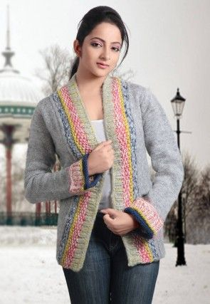 Acro Woolen Hand Knitted Cardigan in Light Grey