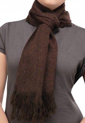 Woolen Blend Stole in Brown