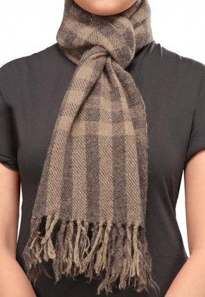 Printed Woolen Blend Stole Brown