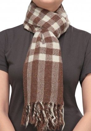 Checkered Woolen Blend Stole in Brown and White