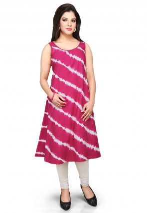Printed Cotton Tunic In Fuchsia