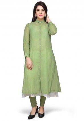 Art Chanderi Silk Tunic in Olive Green