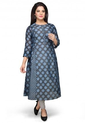 Printed Art Chanderi Silk Long Kurta in Black and Grey