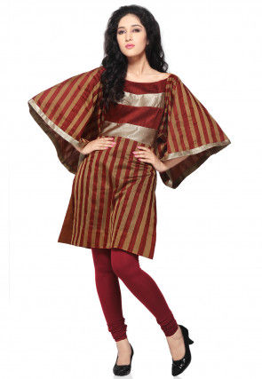 Maroon and Rust Pure Matka Silk Readymade Kurta
