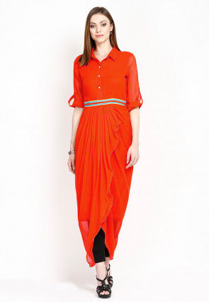Plain Georgette Dhoti Style Tunic in Orange