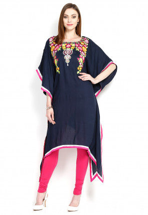 Embroidered Rayon Kaftan in Navy Blue