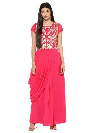 Embroidered Georgette Pleated Gown in Fuchsia