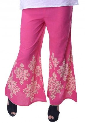 Printed Rayon Palazzo in Pink