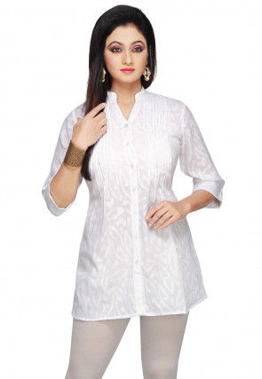 Cotton Jacquard Kurti in White