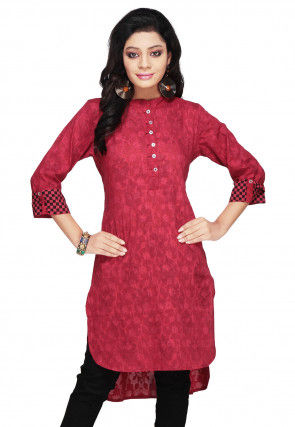 Cotton Jacquard Asymmetrical Tunic In Maroon