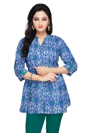 Printed Cotton Top In Blue and White