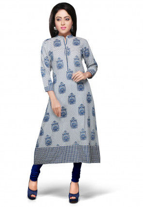 Printed Cotton Long Kurta In White and Blue