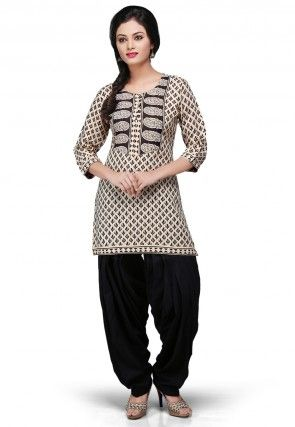 Printed Cotton Kurti In Beige