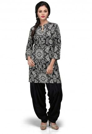 Printed Rayon Kurti In Black and White