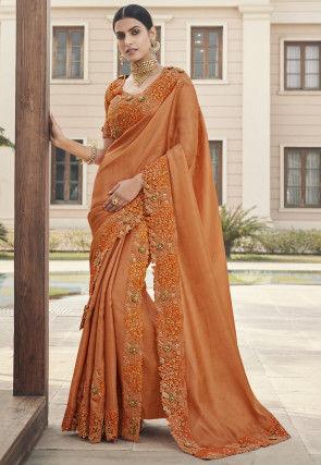 Two Part Art Silk Saree in Orange