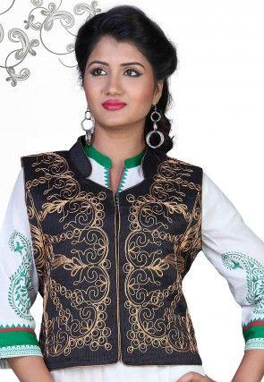 Embroidered Art Silk Jacket in Black