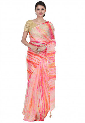 Tye N Dye Pure Kota Silk Saree in Pink and Multicolor