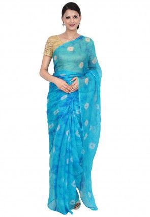 Tye N Dye Pure Kota Silk Saree in Shaded Blue