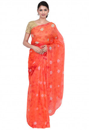 Tye N Dye Pure Kota Silk Saree in Shaded Orange