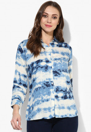 Tye N Dye Viscose Rayon Top in Blue and White